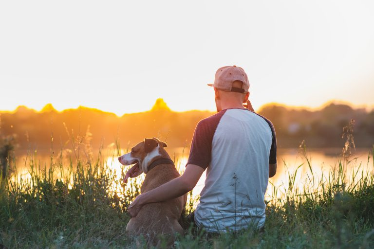 man sitting with his arm around his dog while they sit at the edge of a lake and watch the sunset